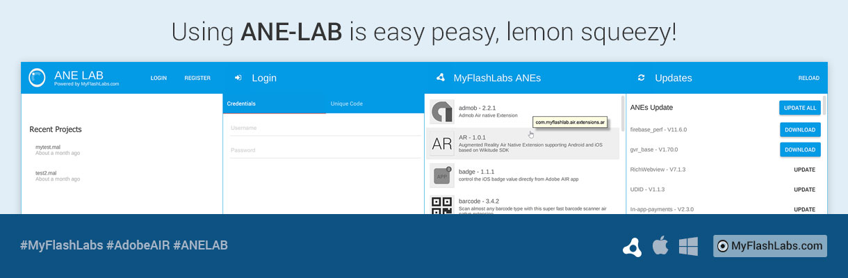 ANE-LAB lets you easily use an AIR Native Extension in Adobe AIR